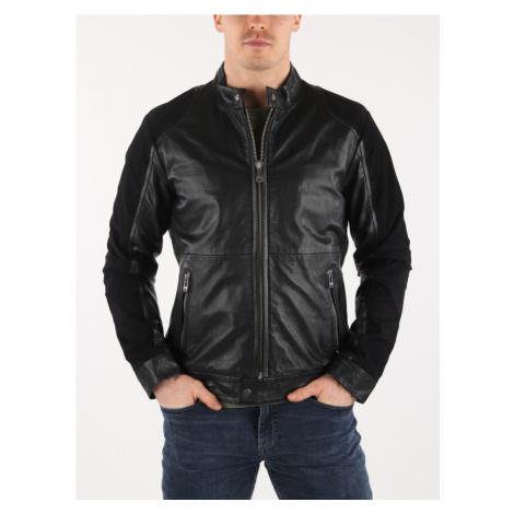 Bunda Trussardi Biker Regular Fit Goat Leather Čierna