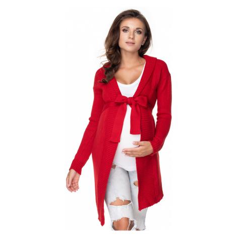 Červený tehotenský sveter 40045 PeeKaBoo