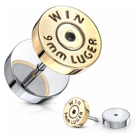 """Fake plug v striebornej farbe - plochý kruh v zlatom odtieni, nápis """"WIN"""""""