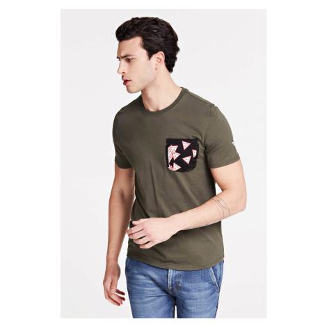 Guess khaki pánske tričko Printed Pocket