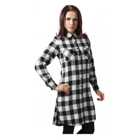 Urban Classics Ladies Checked Flanell Shirt Dress blk/wht - Veľkosť:XS