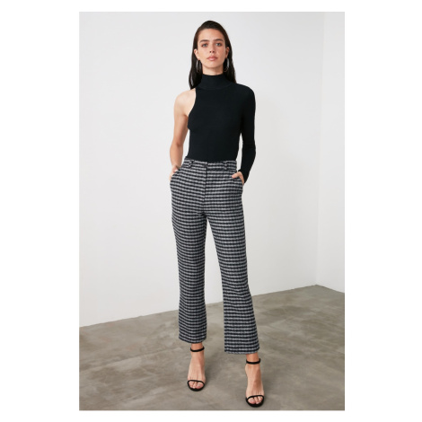 Trendyol Anthracite Checkered Trousers