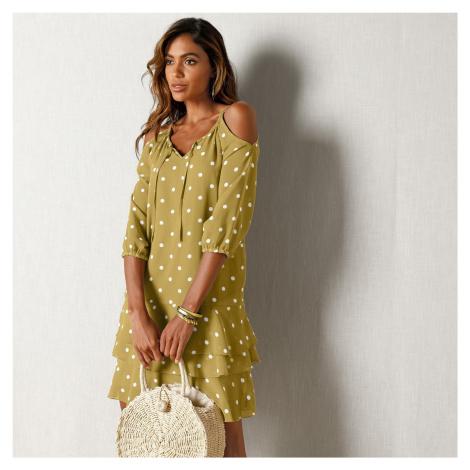 Blancheporte Voálové šaty s bodkami zelená olivová