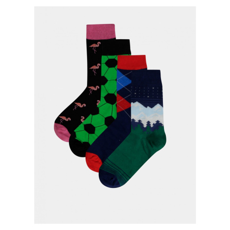 Set of four pairs of patterned socks in blue and green bellinda crazy