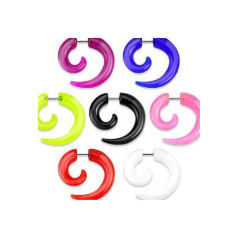 Falošný expander do ucha - akrylová lesklá špirála - Farba: Modrá