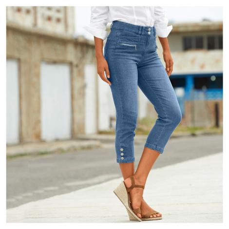 Blancheporte Džínsové 3/4 nohavice s gombíkmi na koncoch nohavíc zapratá modrá