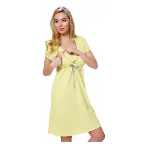Bavlnená tehotenská nočná košeľa Felicita žltá Italian Fashion