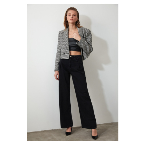 Trendyol Black Pleahigh Waist Wide Leg Jeans Black