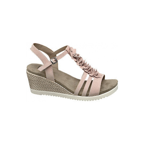Ružové komfortné sandále na klinovom podpätku Easy Street