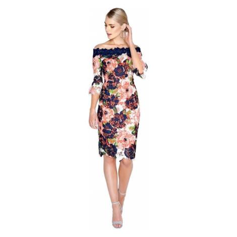 Farebné kvetované bardot šaty s čipkou Little Mistress