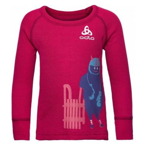 Odlo BL TOP CREW NECK L/S ACTIVE WARM TREND K červená - Detské tričko