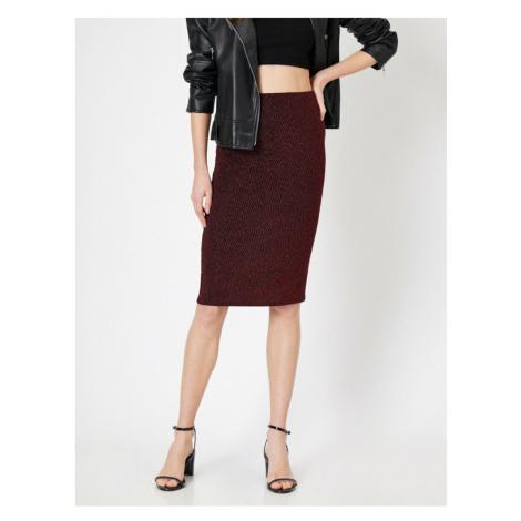 Koton Silvery Midi Boy Pencil Skirt