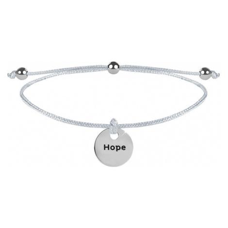 Troli Šnúrkový náramok Hope biela / oceľová