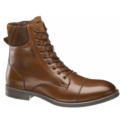 Wojas - Hnedá kožená členková obuv so zipsom Wojas