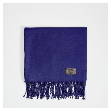 Mohito - Hladký šál so strapcami - Modrá