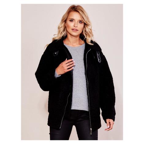 Dámska čierna kožušinová bunda