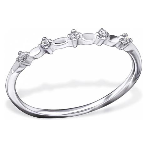 OLIVIE Strieborný prsteň so zirkónmi 0679