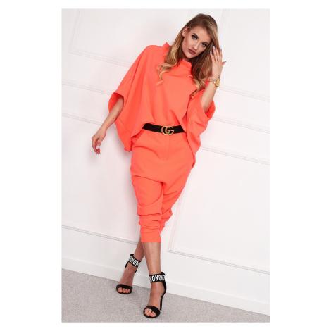 Oranžové elegantné nohavice so zníženým rozkrokom