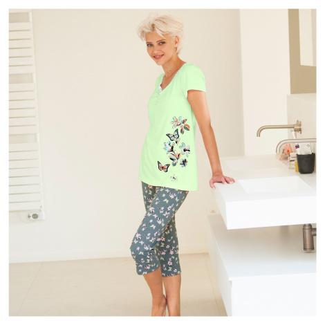 Blancheporte Pyžamové tričko s krátkymi rukávmi, stredová potlač motýľov anízová