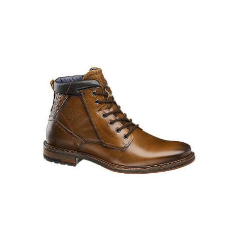 Hnedá kožená členková obuv so zipsom AM SHOE