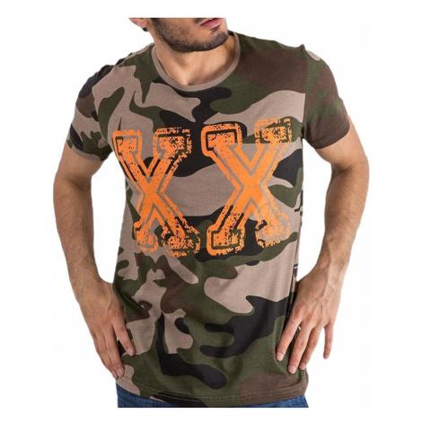 Béžové pánske camo tričko MECHANICH