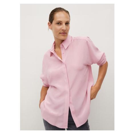 Ružová voľná hodvábná košeľa Mango