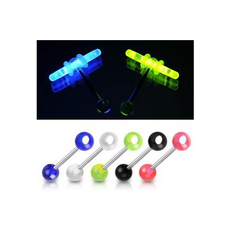 Piercing do jazyka - farebné guľôčky, otvor na svietiace tyčinky - Farba piercing: Ružová