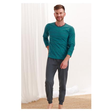 Zeleno-sivé pásikavé pyžamo Max Taro