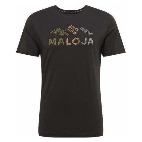 Maloja Funkčné tričko 'Schwarzkiefer'  čierna / olivová / béžová / azúrová