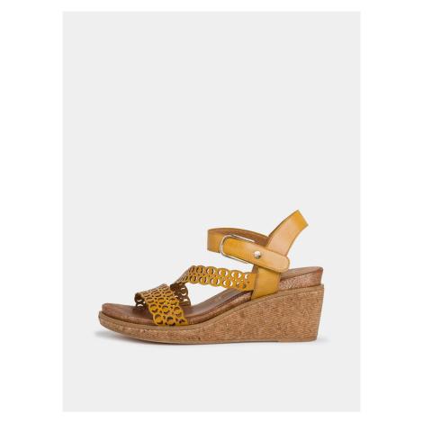 Tamaris žlté kožené topánky na kline