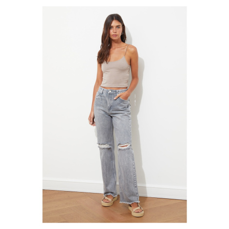 Trendyol Gray Ripped Detailed High Waist 90's Wide Leg Jeans