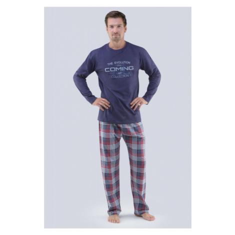 Pánske pyžamo Gina 79067P - barva:GINDCMLxG/sladkého drievka / svetlosivá