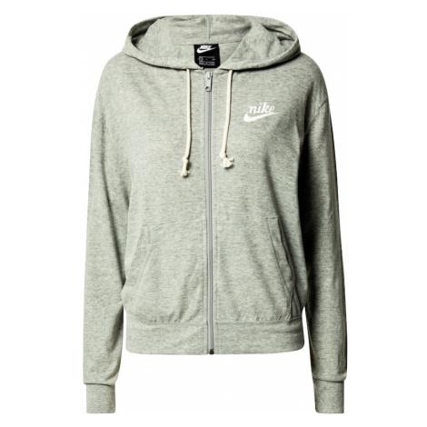 Nike Sportswear Tepláková bunda  sivá melírovaná / biela