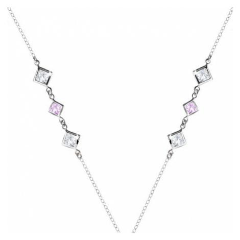 Strieborný 925 náhrdelník - číre a fialové zirkónové kosoštvorce po stranách