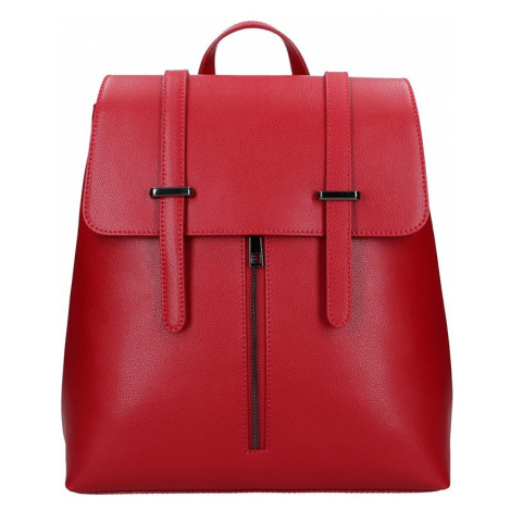 Dámsky kožený batoh Delami Beathag - červená