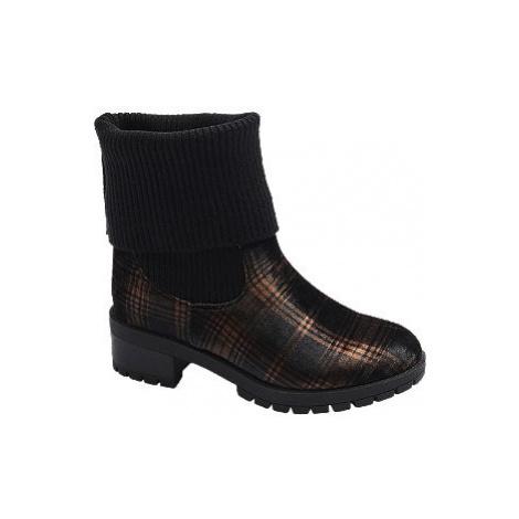 Čierne ponožkové čižmy Catwalk s károvaným vzorom