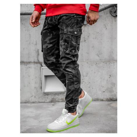 Čierne kapsáčové jogger nohavice s maskáčovým vzorom Bolf CT6019