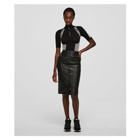 Sukňa Karl Lagerfeld Leather Skirt W/ Snaps