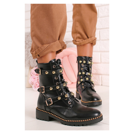 Čierno-zlaté šnurovacie členkové topánky Mila Ideal