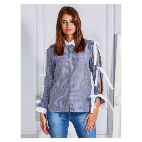 Navy blue striped shirt with decorative bows