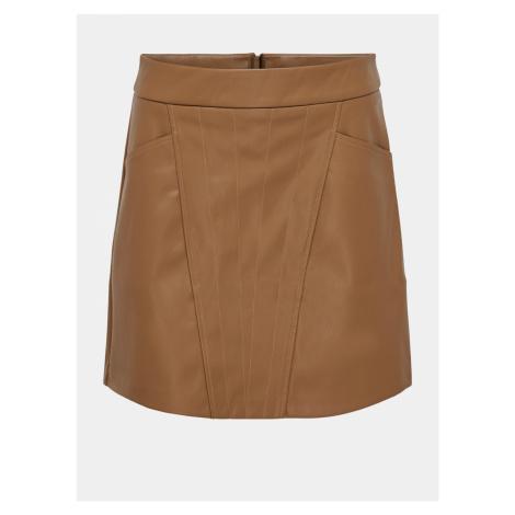 Hnedá koženková sukne ONLY Naya