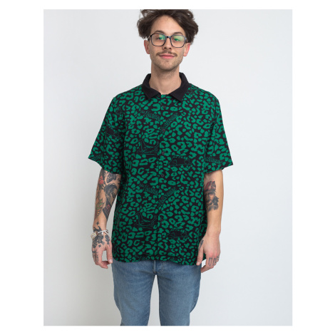Lazy Oaf Flintstones Dino Leopard Bowling Shirt Green/Black