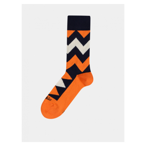 Orange Patterned Socks Fusakle Zigzag