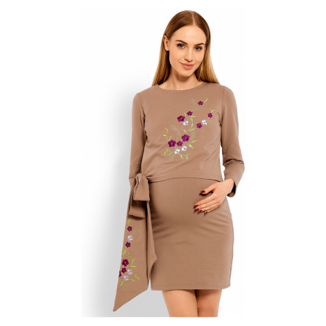 Hnedé tehotenské šaty 1624C PeeKaBoo