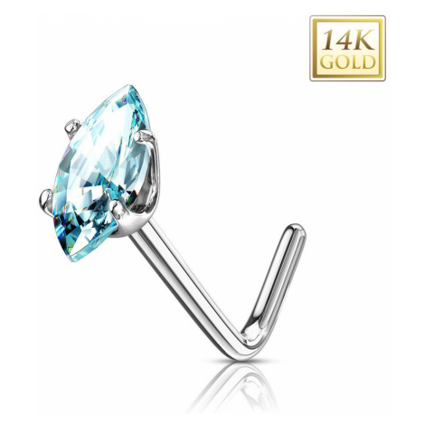 Zlatý 14K zahnutý piercing do nosa - svetlomodré zrnko, biele zlato