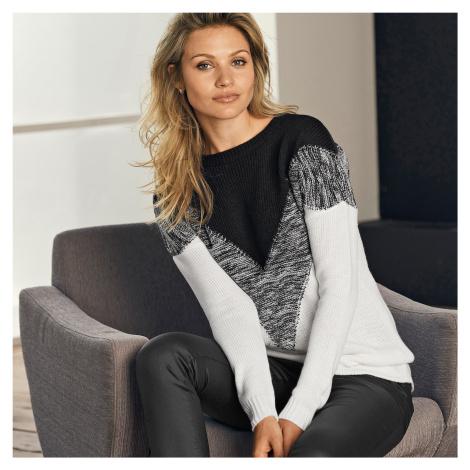 Blancheporte Žakárový originálny pulóver čierna/biela