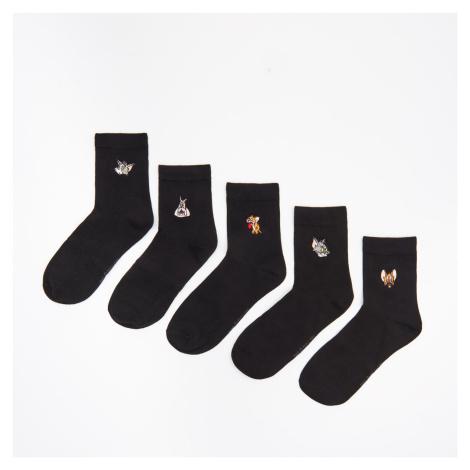 Cropp - Súprava 5 párov ponožiek Tom and Jerry - Čierna