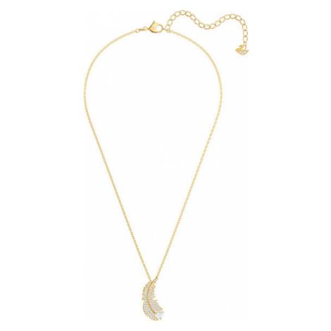 Swarovski Trblietavý náhrdelník v tvare pierka s kryštálmi Swarovski Nice
