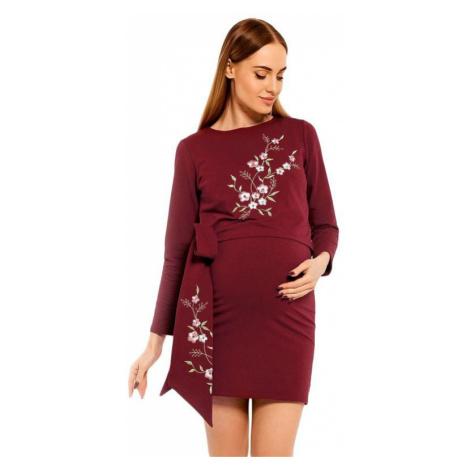 Tehotenské a dojčiace šaty Bonnie vínové PeeKaBoo