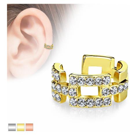 Falošný piercing do ucha - spájané kontúry obdĺžnikov vykladané zirkónmi - Farba piercing: Zlatá